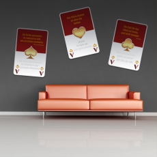 Wandbild Spielkarten rot